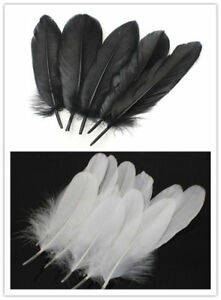 Beautiful-Natural-Goose-Feathers-6-8-Inches-15-20-Cm-White-Black-20-1000pcs