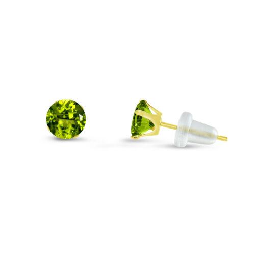Choose a Size 2mm Round Green Peridot CZ 10K Yellow Gold Stud Earrings 10mm