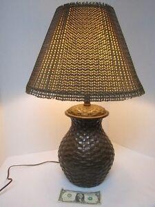 Vtg Ceramic Table Lamp Basket Weave Pattern Brown W Woven Shade Boho