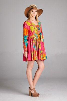 Orange Tunic Fashion Dress Velzera Sequin Beaded Floral Multi Color Small-3XL