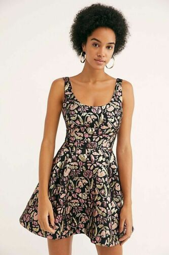 Free People Sparkle Deluxe Pink Mini Fit-Flare Embroidered Tapestry Dress XS