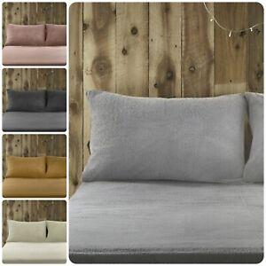 Fusion-Teddy-Bear-Fleece-Fitted-Sheet-Pillowcases-Warm-Fluffy-Winter-Super-Soft