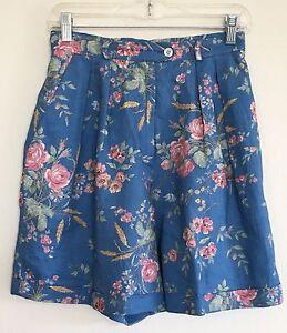 Lauren Ralph Lauren Women's 100% Linen Blue Floral High Waist Shorts Size 4