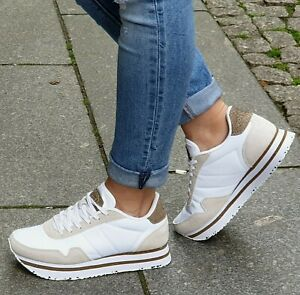 WODEN-Schuhe-NORA-II-PLATEAU-Weiss-Bright-White-Echtleder-Textil-Damen-Sneaker