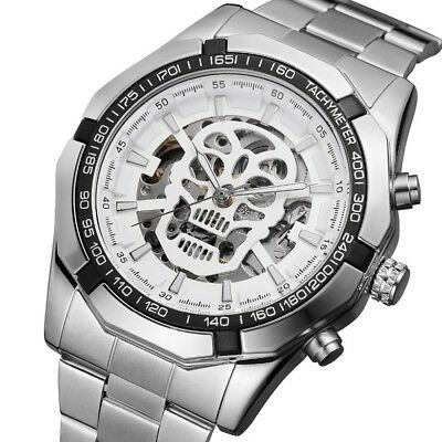 New Skull Skeleton Automatic Mechanical Watches Mens Wrist Watch Stainless Steel