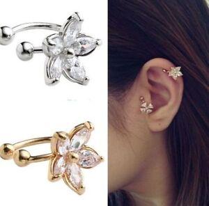 Gold-Silver-Crystal-Flower-Ear-Cuff-Earring-Fashion-Womens-Wrap-Clip-On-Jewelry