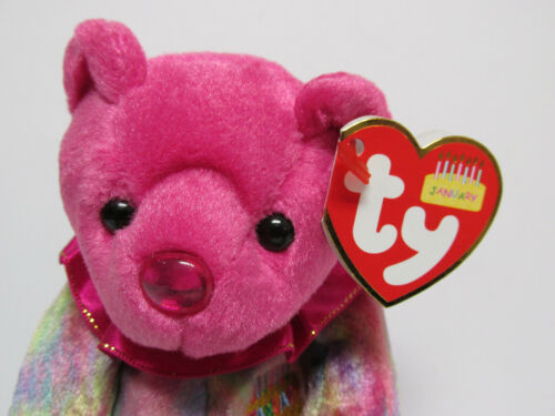 "PRISTINE New w//Mint Tags Ty Beanie Baby /""January/"" Birthday Bear /'Ruffle/' collar"