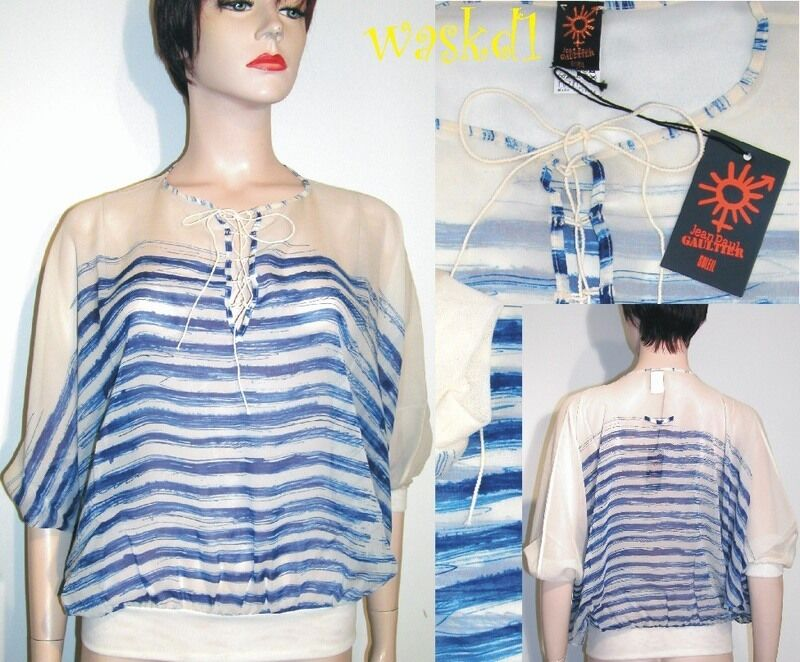 JEAN PAUL GAULTIER Blau XS Stripes silk Batwing LACE-UP top NWT Authentic JPG