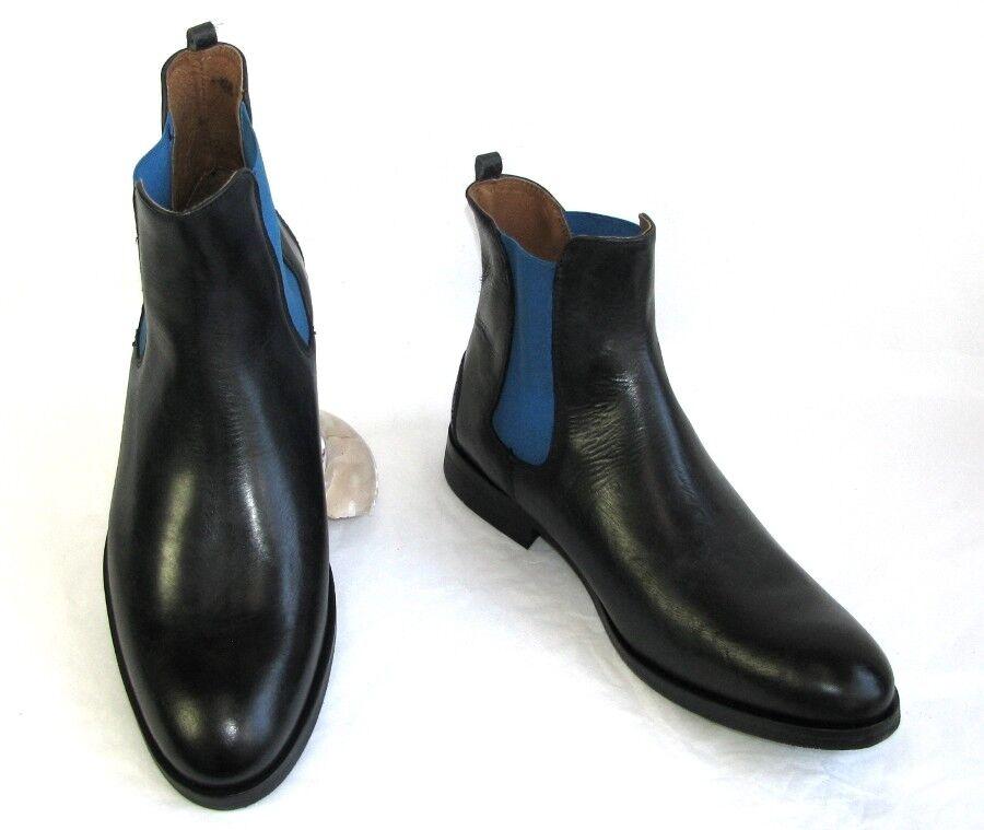 JUCH Bottines FISCHER BLEU SATIN Chelsea cuir noir 43 NEUF & BOITE