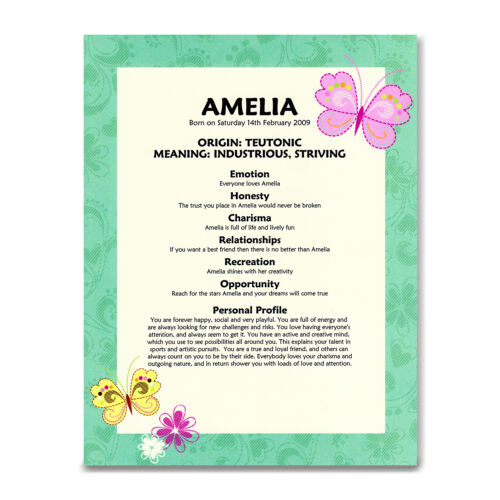 PERSONALISED NAME MEANING PRINT 1st 2nd 3rd 4th 5th 10th 13th Birthday Girl Gift