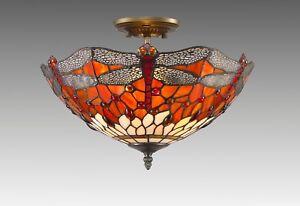 Plafoniere Stile Tiffany : Dragon tiffany style glass handcrafted ceiling light ebay
