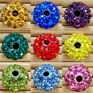 20Pcs-Fashion-Czech-Crystal-Rhinestones-Pave-Clay-Round-Disco-Ball-Spacer-Bead