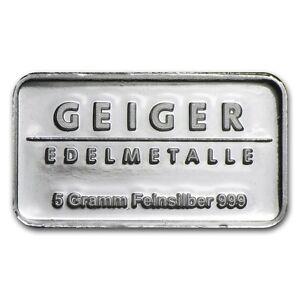 Lingot Argent 999/1000 5 Grammes Geiger Schloss Güldengossa - 5 Grammes Silver Unxccrqf-07224032-557629453