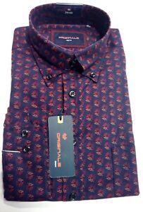 Gcm Langarm Hemd Button-down-kragen Gr Klassische Hemden 3xl 47/48 Blau Rot Muster 100%baumwolle