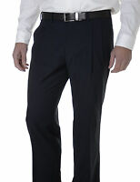 Giordano Mens Navy Blue Double Pleated Wool Blend Dress Pants