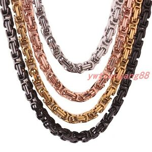 Men Chain Stainless Steel Silver Gold Black Tone Byzantine Box ... aa363a852