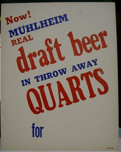 1960's Muhlheim Draft Beer Cardboard Price Sign Reading, PA