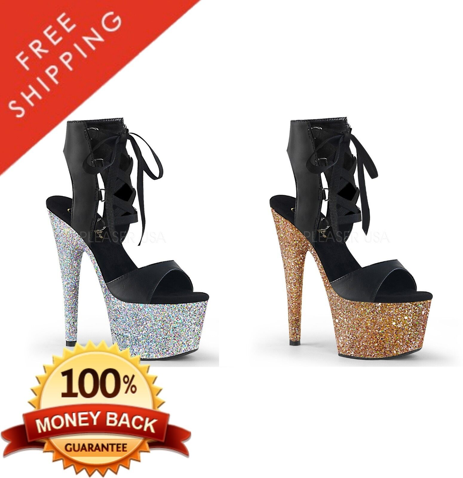 vendita calda Pleaser ADORE-700-14LG Platform Front Lace-up Ankle High High High Sandal 7  Heel  sconto prezzo basso