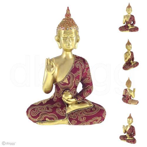 Thai Buddha mit Schüssel rot gold Dekofigur Höhe ca 22 cm