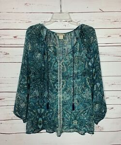 Lucky-Brand-Women-039-s-L-Large-Navy-Blue-Boho-Long-Sleeve-Sheer-Top-Blouse-Shirt