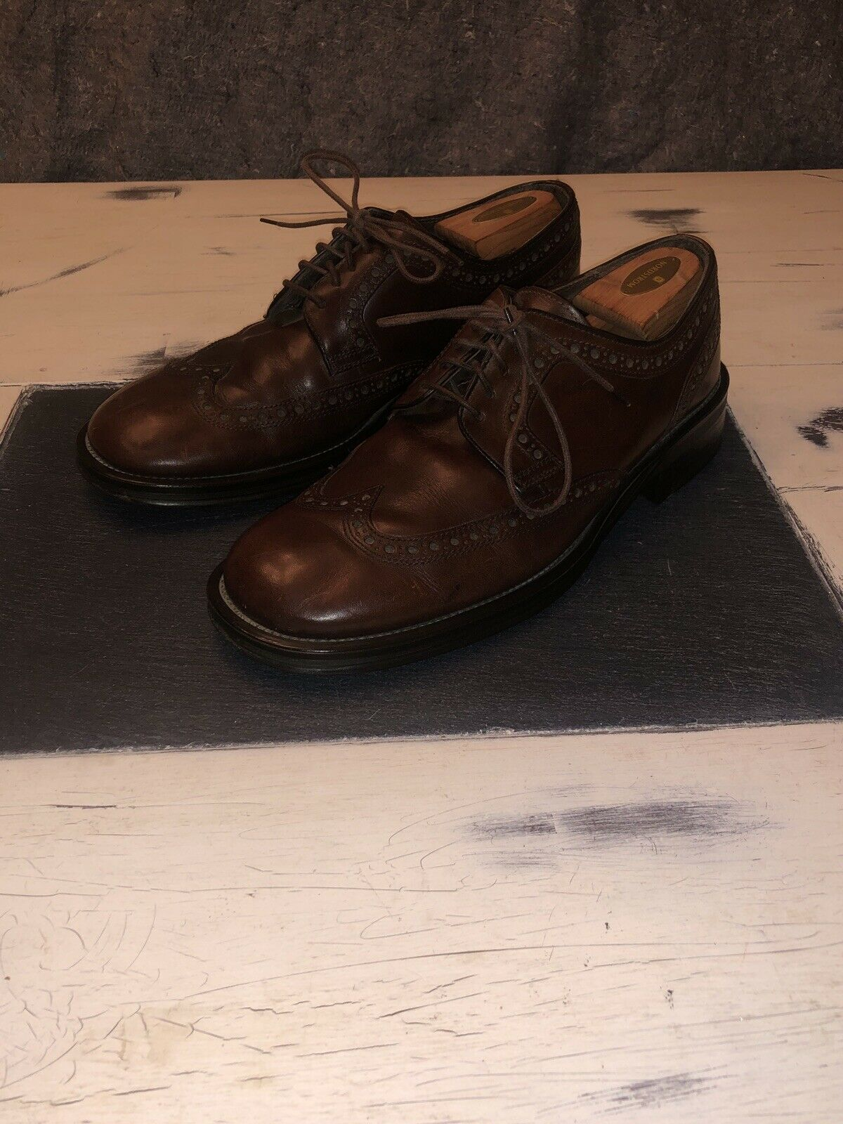 Kenneth Cole New York Mens 12M Italy Brown Wingtips