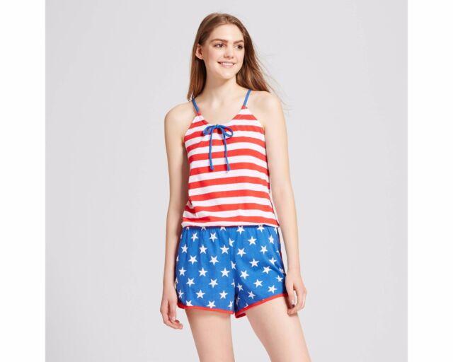 b54ea4bc3f9b Snooze Button Women s Flag Sleep Romper XS L XL Cotton Pull on lightweight  fabri