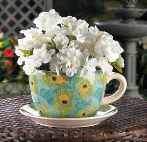 Giant Tea Cup Saucer Ceramic Planter White Blue Peacock Feather H16