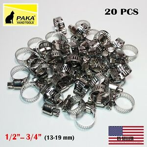 """8-12 mm 15 Pcs Stainless Steel Drive Hose Clamps  Worm Clips 3//8/""""-1//2/"""""""