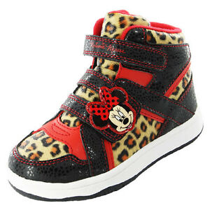 Girls-SIZE-6-12-Black-Red-MINNIE-MOUSE-Hi-Top-Trainers-Leopard-Trim-LANGLEY