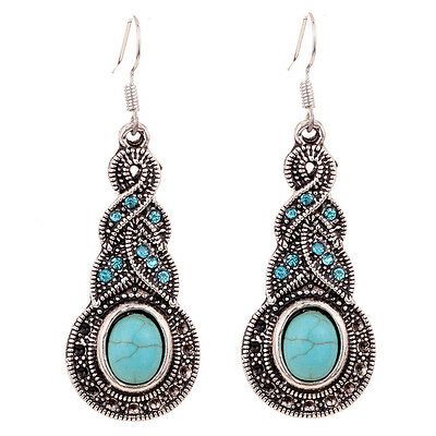 Silver Plated Blue Crystal Round Turquoise Dangle Hoop Earrings Lady Gift