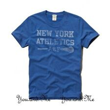 NEW ABERCROMBIE & FITCH GRAPHIC TEE for MEN * A&F Woodsfall Trail T Shirt Blue L