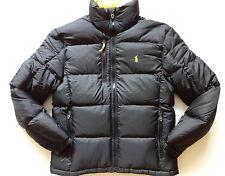 New Ralph Lauren Polo Black Yellow Trim Winter Puffer Down Jacket size XL