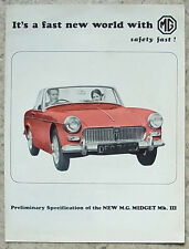 MG MIDGET Mk III Preliminary Specification Car Sales Brochure 1966 #H&E 2397