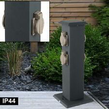 Außen Steckdosen Pfosten Stein Optik Garten Energie Strom Verteiler grau H 27 cm