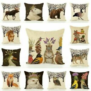 Cotton-Linen-Animal-Cushion-Cover-Waist-Throw-Pillow-Case-Home-Sofa-Decor-UK
