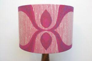 Original-70s-Fabric-Lampshade-Retro-30cm-Drum-Geometric-Pink-Grey-Lining