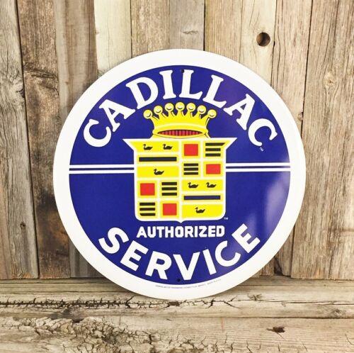 "Cadillac Authorized Service DeVille Metal Tin Sign Round 12/"" Vintage Garage New"