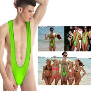 8c9721518974f 2018 Green Borat style Mankini Thong Dress Up Stag Party Swim Suit ...