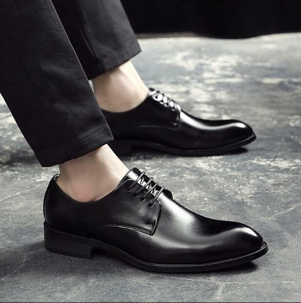 Mens Pointed Toe Formal Faux Leather Lace Up Oxfords Business Party Solid shoes