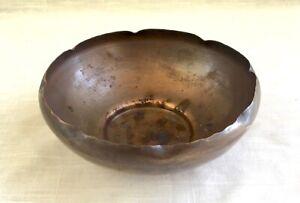 Antique-Vintage-Mission-Arts-amp-Crafts-Hand-Made-Copper-Bowl-Craftsman