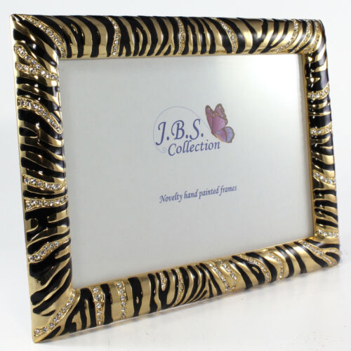 enamel painted w// crystals in gold 4x6 Bejeweled zebra pattern photo frame