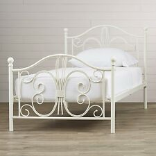 white metal bed frame full size headboard footboard bedroom furniture iron new
