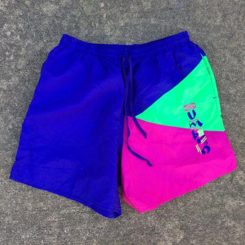 Vintage 80s 90s Umbro Soccer White Red Sport Medium Large 34-36 Nylon Shorts