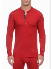 $115 2XIST Mens LONG SLEEVE HENLEY SHIRT RED TARTAN Thermal UNDERSHIRT SIZE M