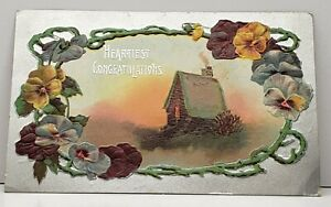 Heartiest-Congratulations-Cottage-Scene-Vined-Pansies-Embossed-1910-Postcard-G15