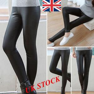 9efe972962090 Image is loading Ladies-High-Waist-Black-Faux-Leather-Leggings-Wet-