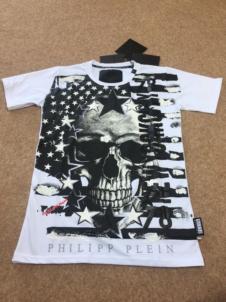 Genuine Philipp Plein  By hand  Large White T-Shirt Brand New with Tags