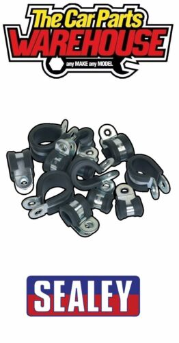 60 X Assorted SEALEY Rubber Lined P-clips P Clips Metal Retaining Hose Cable