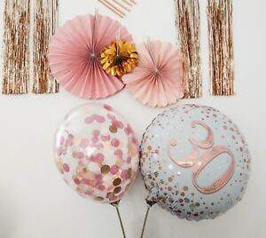 Image Is Loading Rose Gold Balloons Bouquet Hello 30 Birthday Decor