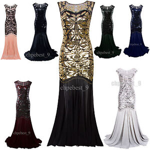 a0619f11598 Image is loading Prom-Gown-Gatsby-1920s-Flapper-Dress-Party-Evening-
